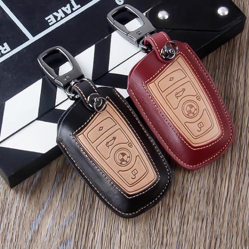 Schlüsseletui aus echtem Leder für BMW Schlüsseltyp B4/B5