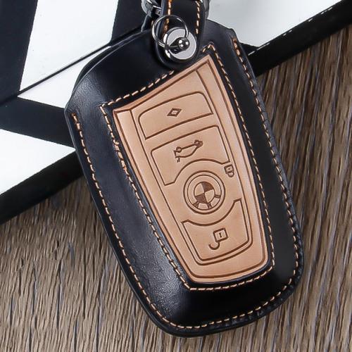 Premium Leder Schlüssel Cover passend für BMW Schlüssel schwarz LEK12-B4-1