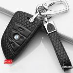 BLACK-ROSE Leder Schlüssel Cover für BMW Schlüssel schwarz LEK4-B6, B7