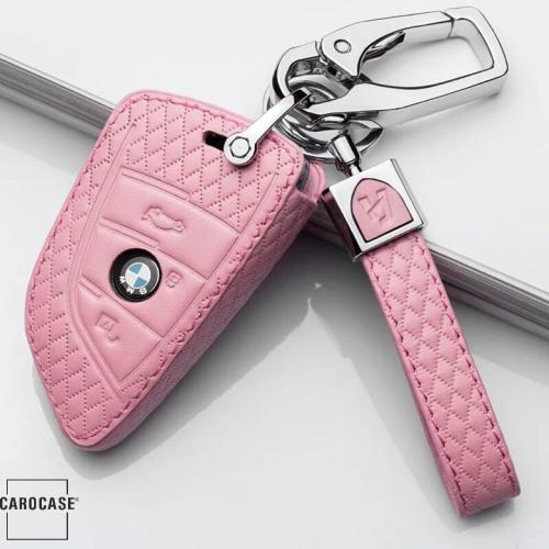 Schlüsseletui für BMW Schlüssel aus echtem Leder, Schlüsseltyp B4/B5 rose pink