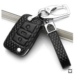 BLACK-ROSE Leder Schlüssel Cover für Volkswagen, Audi, Skoda, Seat Schlüssel schwarz LEK4-V3