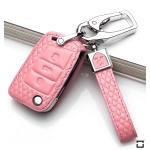 BLACK-ROSE Leder Schlüssel Cover für Volkswagen, Audi, Skoda, Seat Schlüssel rosa LEK4-V3