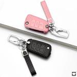 Schlüsseletui für Volkswagen Autoschlüssel aus echtem Leder, Schlüsseltyp V3 rose pink