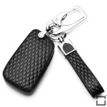 BLACK-ROSE Leder Schlüssel Cover für Volkswagen, Skoda, Seat Schlüssel schwarz LEK4-V4