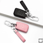Schlüsseletui für Volkswagen Autoschlüssel aus echtem Leder, Schlüsseltyp V4 rose pink