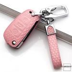 BLACK-ROSE Leder Schlüssel Cover für Audi Schlüssel rosa LEK4-AX3