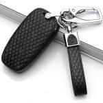 BLACK-ROSE Leder Schlüssel Cover für Audi Schlüssel schwarz LEK4-AX4
