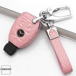 Kopie von KFZ Funkschlüssel Etui für BMW Schlüssel aus echtem Leder, Schlüsseltyp B4/B5 rose pink