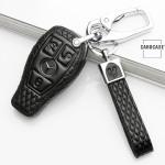 BLACK-ROSE Leder Schlüssel Cover für Mercedes-Benz Schlüssel schwarz LEK4-M8
