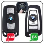 Leather car key case for BMW - key type B4/B5 dark brown
