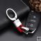 Mini Schlüsselanhänger Lederband mit Karabiner chrom/hellrot SAR2-63