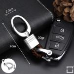 Mini Schlüsselanhänger Lederband mit Karabiner chrom/dunkelbraun SAR2-59