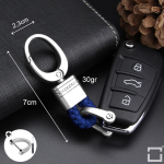 Mini Schlüsselanhänger Lederband mit Karabiner chrom/blau SAR2-49