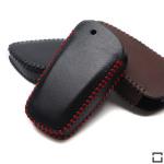 Leder Schlüssel Cover passend für BMW Schlüssel B4, B5 schwarz/rot