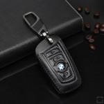 Leder Schlüssel Cover passend für BMW Schlüssel B4, B5 schwarz/schwarz