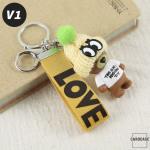 Teddybär Schlüsselanhänger mit niedlicher Wollmütze - V1