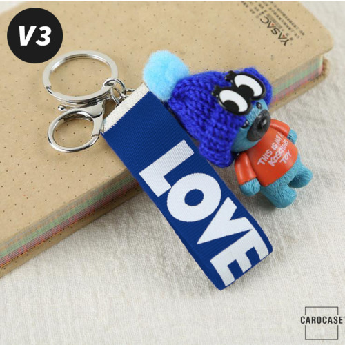 Teddybär Schlüsselanhänger mit niedlicher Wollmütze - V3