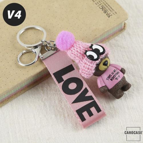 "Teddybär - KOREAN VERSION - Schlüsselanhänger mit Wollmütze ""Handmade"" V4"