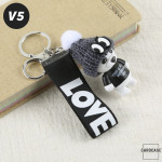 Teddybär Schlüsselanhänger mit niedlicher Wollmütze - V5