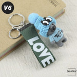 Teddybär Schlüsselanhänger mit niedlicher Wollmütze - V6