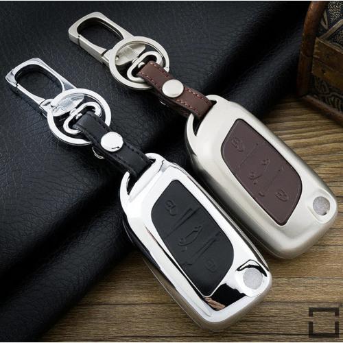 Alu Hartschalen Schlüssel Case passend für Citroen, Peugeot Autoschlüssel  HEK2-P1