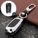 Alu Hartschalen Schlüssel Case passend für Citroen, Peugeot Autoschlüssel chrom/schwarz HEK2-P1-29