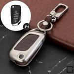 Alu Hartschalen Schlüssel Case passend für Citroen, Peugeot Autoschlüssel champagner matt/braun HEK2-P1-30