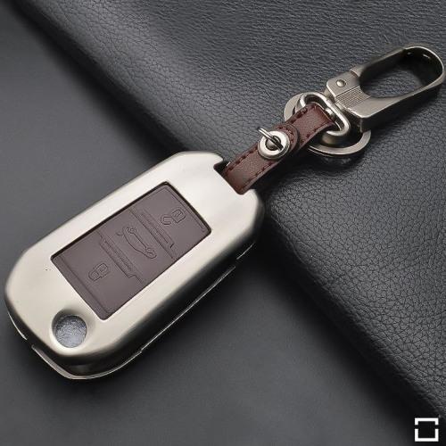 Alu Hartschalen Schlüssel Case passend für Citroen, Peugeot Autoschlüssel champagner matt/braun HEK2-P3-30