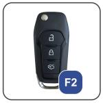 Alu Hartschalen Schlüssel Case passend für Ford Autoschlüssel chrom/schwarz HEK2-F2-29