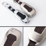 Alu Hartschalen Schlüssel Case passend für Ford Autoschlüssel champagner matt/braun HEK2-F2-30
