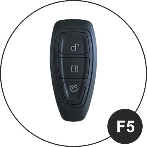 Alu Hartschalen Schlüssel Case passend für Ford Autoschlüssel chrom/schwarz HEK2-F5-29