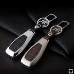 Alu Hartschalen Schlüssel Case passend für Ford Autoschlüssel champagner matt/braun HEK2-F5-30