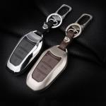 Alu Hartschalen Schlüssel Case passend für Opel, Citroen, Peugeot Autoschlüssel chrom/schwarz HEK2-P2-29