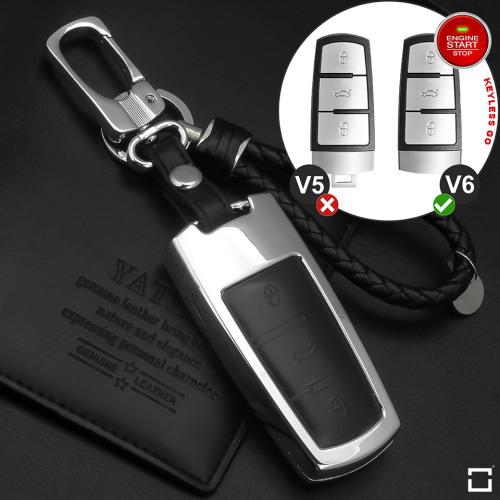 Schlüssel Cover aus Alu für VW Schlüsseltyp V6 schwarz