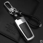 Alu Hartschalen Schlüssel Case passend für Volkswagen Autoschlüssel chrom/schwarz HEK2-V6-29