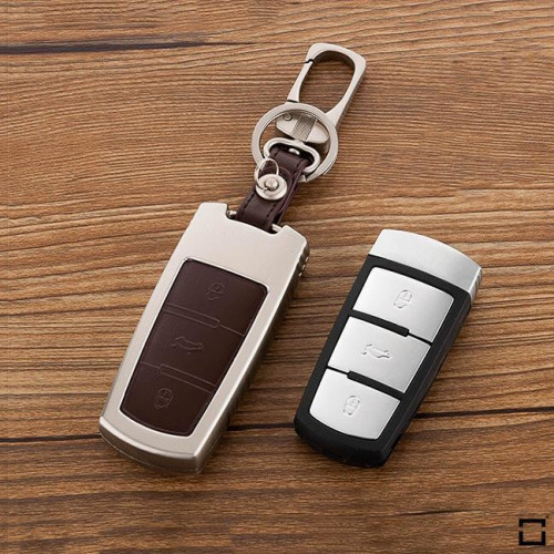 Alu Hartschalen Schlüssel Case passend für Volkswagen Autoschlüssel champagner matt/braun HEK2-V6-30