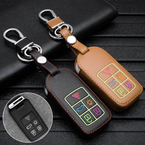 Leder Schlüssel Cover passend für Volvo Schlüssel braun LEUCHTEND! LEK2-VL1-2