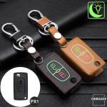 Leder Schlüssel Cover passend für Citroen, Peugeot Schlüssel  LEUCHTEND! LEK2-PX1
