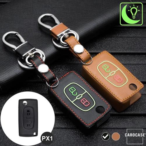 Leder Schlüssel Cover passend für Citroen, Peugeot Schlüssel schwarz LEUCHTEND! LEK2-PX1-1