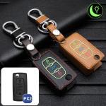 Leder Schlüssel Cover passend für Citroen, Peugeot Schlüssel  LEUCHTEND! LEK2-PX2
