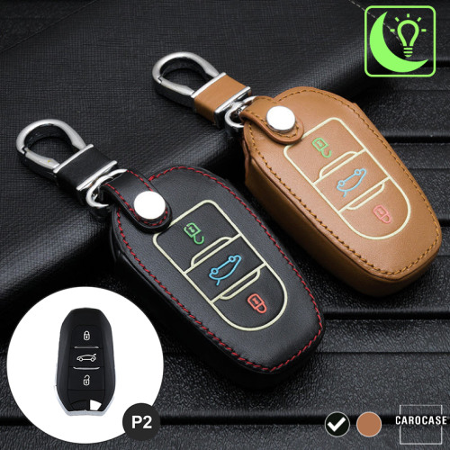 Leder Schlüssel Cover passend für Opel, Citroen, Peugeot Schlüssel schwarz LEUCHTEND! LEK2-P2-1
