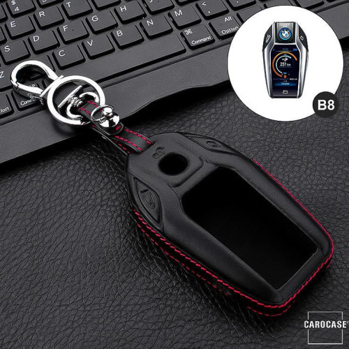 Leder Hartschalen Cover passend für BMW Schlüssel schwarz LEK48-B8