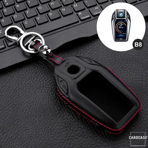 Leder Hartschalen Cover passend für BMW Schlüssel schwarz LEK48-B8-1