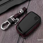 Leder Hartschalen Cover passend für Volkswagen, Skoda, Seat Schlüssel schwarz LEK48-V4
