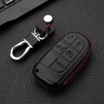 Leder Hartschalen Cover passend für Jeep, Fiat Schlüssel schwarz LEK48-J4, J5, J6, J7-1