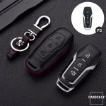Leder Hartschalen Cover passend für Ford Schlüssel schwarz LEK48-F3-1