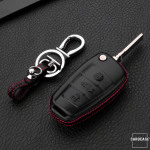 Leder Hartschalen Cover passend für Audi Schlüssel schwarz LEK48-AX3