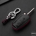 Leder Hartschalen Cover passend für Audi Schlüssel schwarz LEK48-AX3-1