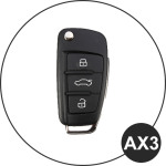 Leather key case for AUDI, key type AU3 black