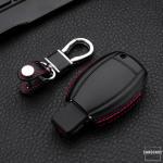 Leder Hartschalen Cover passend für Mercedes-Benz Schlüssel schwarz LEK48-M6-1